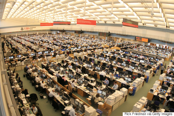 UBS Warburg completed the construction of a 36,000 square foot expansion of its Stamford, Connecticut, trading floor shown February 8, 2005. The expanded facility is now the largest securities trading floor in the world. The addition brings the total size of the floor to approximately the size of two football fields, to accommodate 1,400 traders and staff, up from 800. (Photo by Rick Friedman/Corbis via Getty Images)