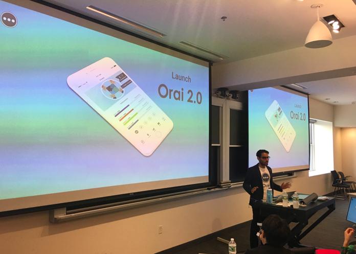 パブリックスピーキングアプリOrai創業者、Danish氏。本人は人前で話すのが大不得意だった経験からこのアプリを開発している。今はものすごく上手だ。